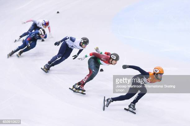Sjinkie Knegt of Netherlands leads the pack in the Men's 1500m final during day two of the ISU World Cup Short Track at EnergieVerbund Arena on...
