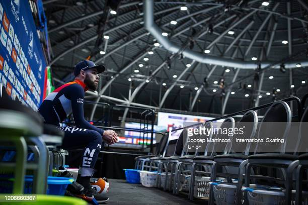 Sjinkie Knegt of Netherlands looks dejected after the Men's 1000m semi-final during day 2 of the ISU World Cup Short Track at Sportboulevard on...