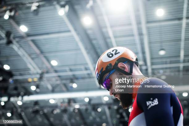 Sjinkie Knegt of Netherlands prepares in the Men's 1000m semi-final during day 2 of the ISU World Cup Short Track at Sportboulevard on February 16,...