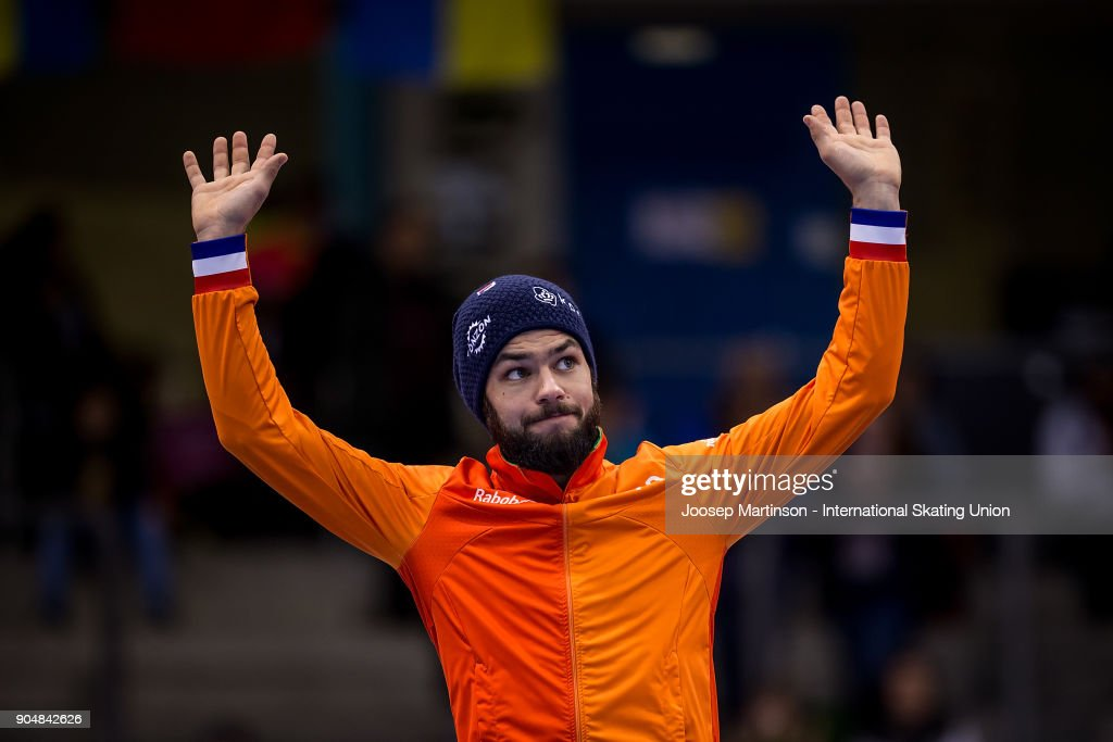 Sjinkie Knegt of Netherlands reacts in the Men's 1000m medal ceremony during day three of the European Short Track Speed Skating Championships at EnergieVerbund Arena on January 14, 2018 in Dresden, Germany.