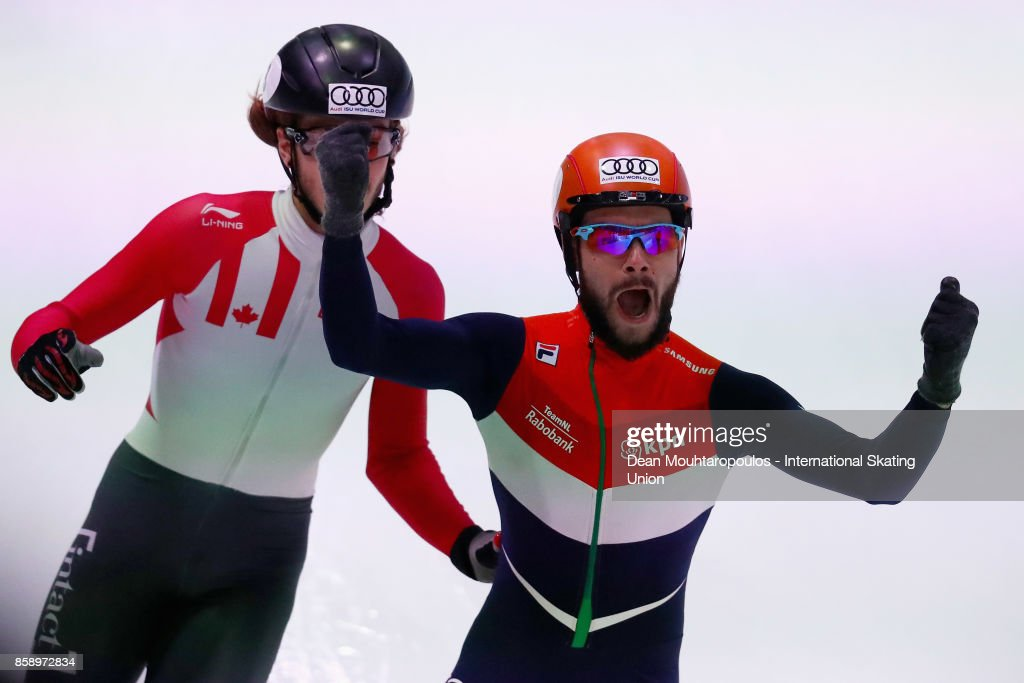 Sjinkie Knegt of the Netherlands celebrates crossing the finish line and winning the Mens 1000m Final during the Audi ISU World Cup Short Track Speed Skating at Optisport Sportboulevard on October 8, 2017 in Dordrecht, Netherlands.