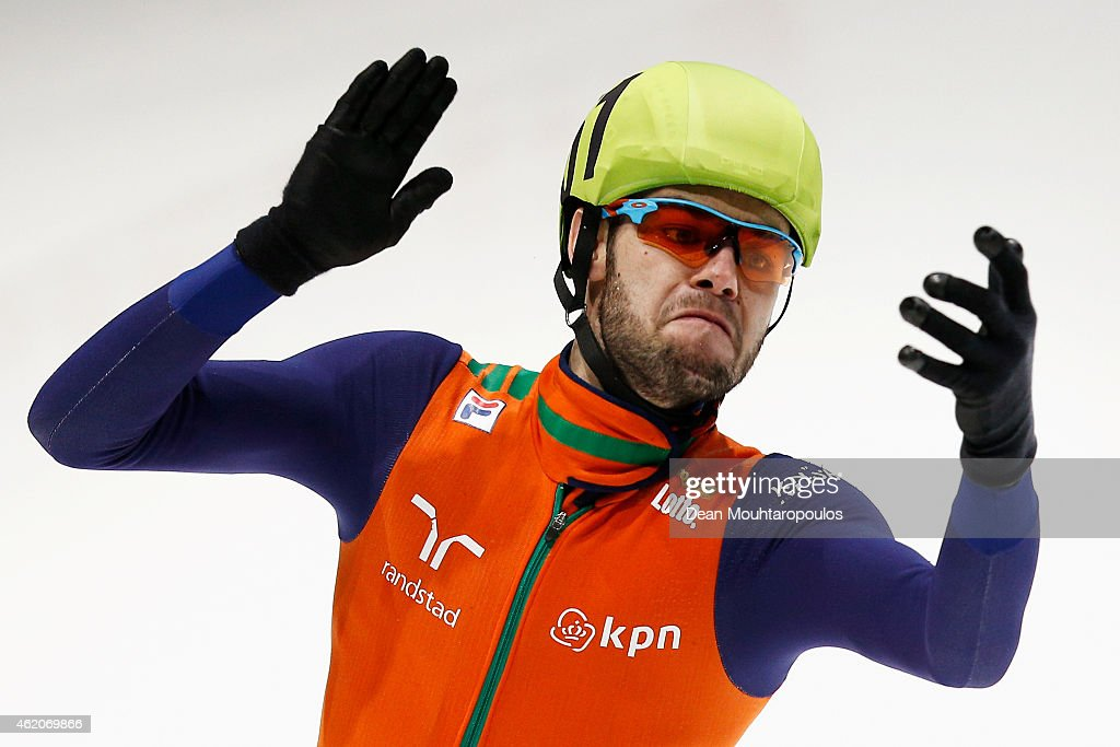 Sjinkie Knegt of the Netherlands celebrates winning the Mens 1500m final gold medal during day 2 of the ISU European Short Track Speed Skating Championships at The Sportboulevard on January 24, 2015 in Dordrecht, Netherlands.