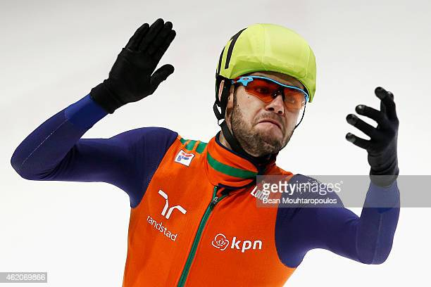 Sjinkie Knegt of the Netherlands celebrates winning the Mens 1500m final gold medal during day 2 of the ISU European Short Track Speed Skating...