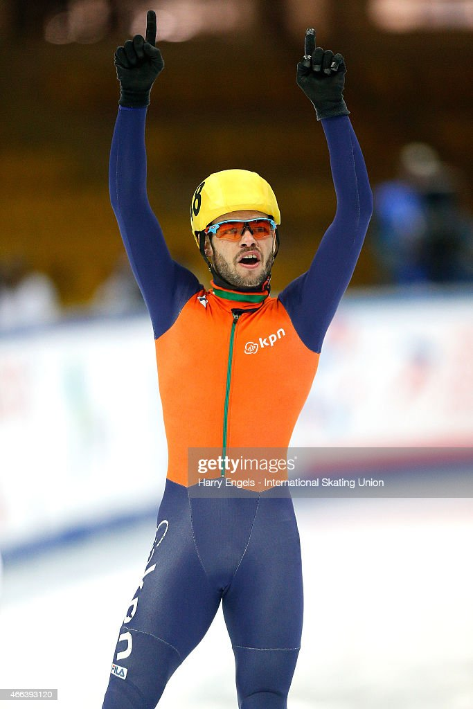 Sjinkie Knegt of the Netherlands celebrates winning the Men's 3000m Super Final on day three of the ISU World Short Track Speed Skating Championships at the Krylatskoe Speed Skating Centre on March 15, 2015 in Moscow, Russia.