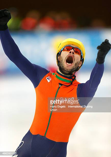 Sjinkie Knegt of the Netherlands celebrates winning the Men's 3000m Super Final on day three of the ISU World Short Track Speed Skating Championships...
