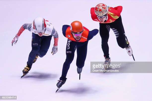 Sjinkie Knegt of the Netherlands competes against Wu Dajing of China and Seo Yi Ra of South Korea in the 500m Mens Final at ISU World Short track...