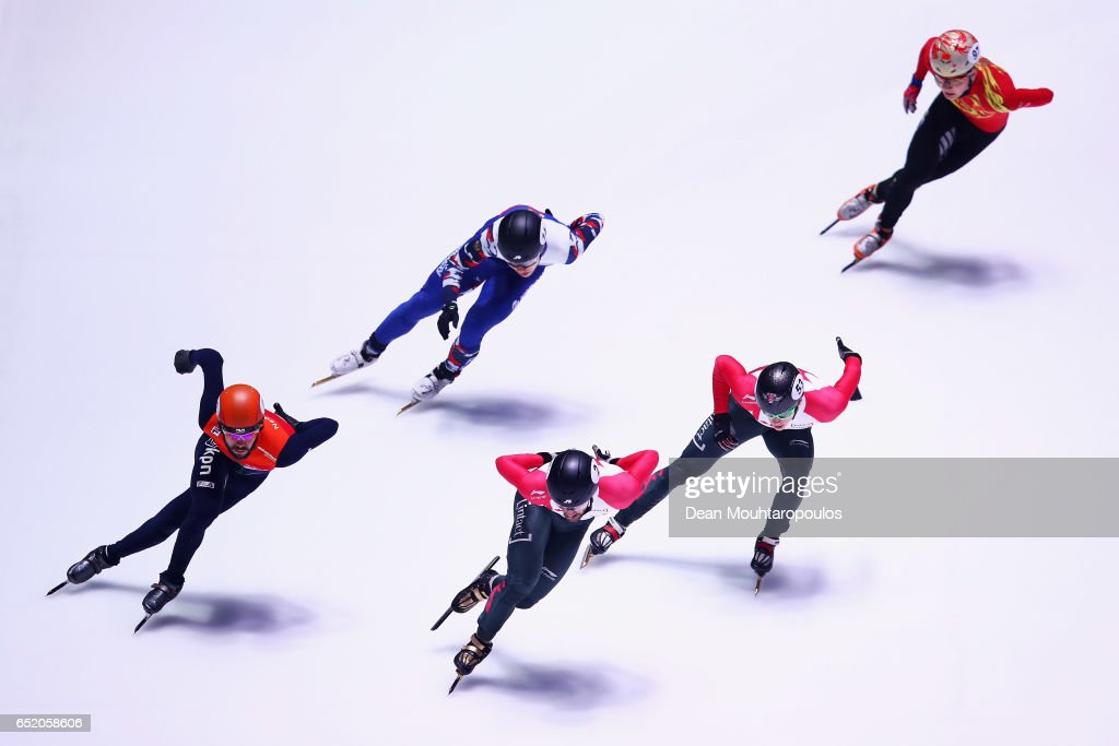 Sjinkie Knegt (orange helmet) of the Netherlands competes in the 1500m Mens Semi Final at ISU World Short track Speed Skating Championships held at the Ahoy on March 11, 2017 in Rotterdam, Netherlands.
