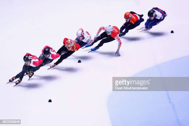 Sjinkie Knegt of the Netherlands competes in the 1500m Mens Semi Final at ISU World Short track Speed Skating Championships held at the Ahoy on March...