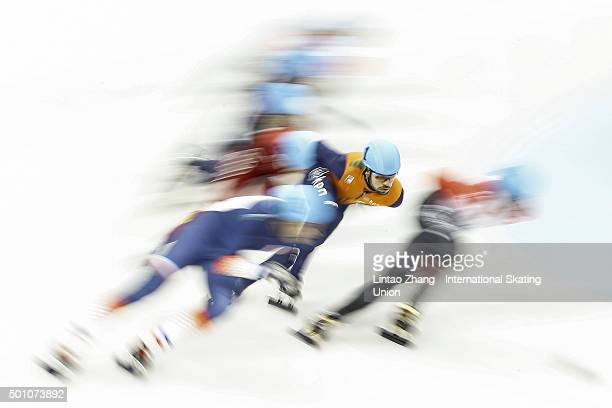 Sjinkie Knegt of the Netherlands competes in the men's 1500m final on day one of the ISU World Cup Short Track speed skating event at the Oriental...