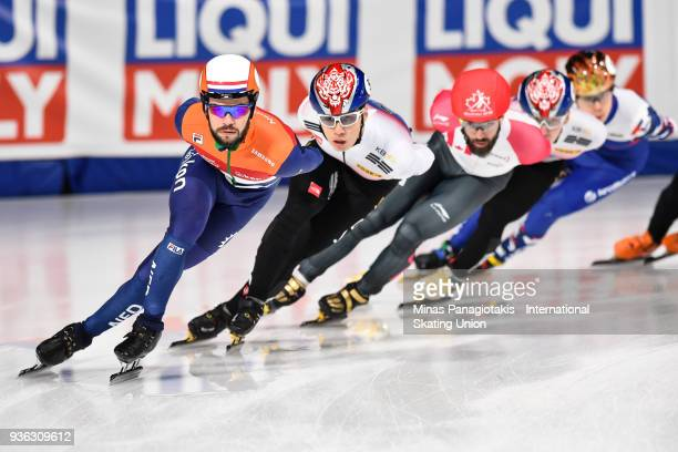 Sjinkie Knegt of the Netherlands competes in the men's 3000 meter SuperFinal during the World Short Track Speed Skating Championships at Maurice...
