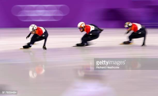 Sjinkie Knegt of the Netherlands Daan Breeuwsma of the Netherlands and Itzhak De Laat of the Netherlands warm up prior to Men's 1000m Qualification...