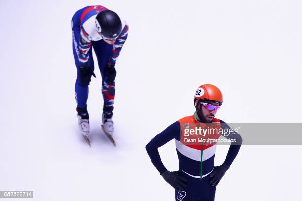 Sjinkie Knegt of the Netherlands looks on after he competes on day two in the 3000m Mens Super Final at ISU World Short track Speed Skating...