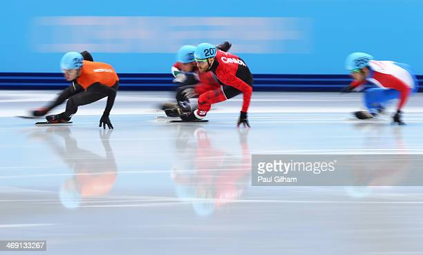 Sjinkie Knegt of the Netherlands Olivier Jean of Canada Bence Beres of Hungary and Mackenzie Blackburn of Chinese Taipei compete in the Short Track...