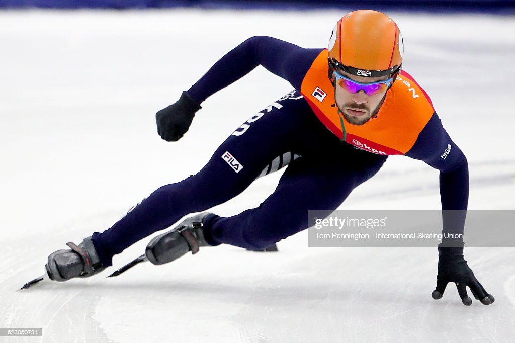 Sjinkie Knegt of the Netherlands skates to a new world record to win the Men's 1500 meter Final during the ISU World Cup Short Track Speed Skating event on November 13, 2016 in Salt Lake City, Utah.