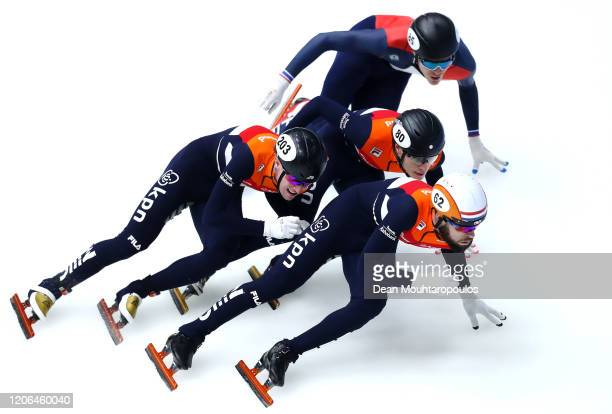 Sjinkie Knegt Sven Roes and Friso Emons all of the Netherlands and Quentin Fercoq of France compete in the men 1500m final b during the ISU World Cup...