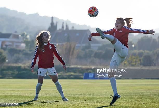 Sjoeke Nusken and Sophia Kleinherne of Germany warm up prior the 14 Nations Tournament match between U19 Women's Germany and U19 Women's Denmark on...