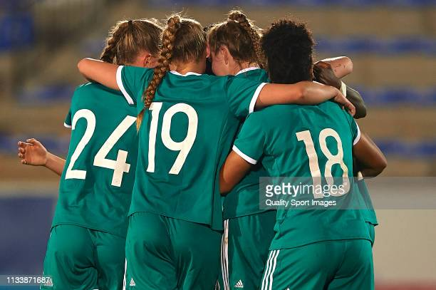 Sjoeke Nusken of Germany celebrates after scoring her team's first goal with their teammates during the 14 Nations Tournament match between U19...