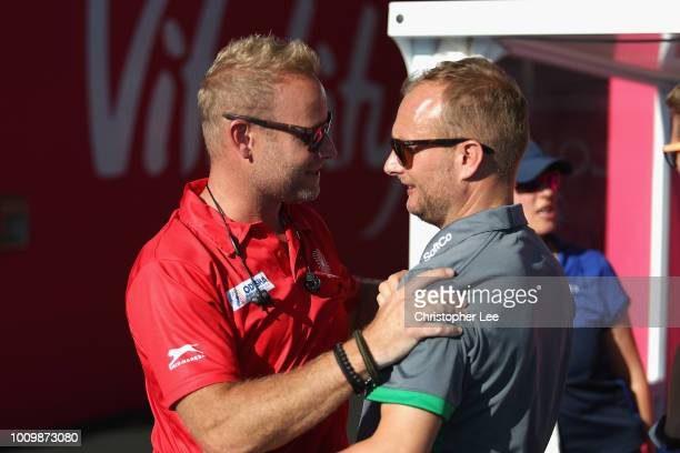 Sjoerd Marijne of India and Graham Shaw of Ireland shake hands before the match during the Quarter Final game between Ireland and India of the FIH...