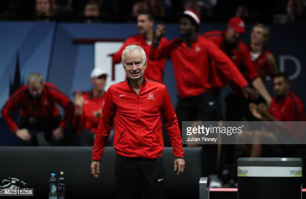 SJohn Mcenroe Captain of Team World watches Rafael Nadal of Team Europe as he plays his singles match against Jack Sock of Team World on Day 2 of the...