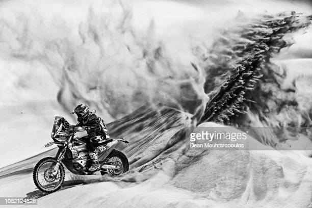 Sjors Van Hertum No 123 Motorbike ridden by Mark Tielemans of The Netherlands competes in the desert on the sand during Stage Six of the 2019 Dakar...