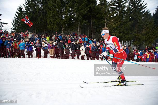 Sjur Roethe of Norway competes during the FIS Men's Cross Country 50km World Cup Mass Start race on March 8 2014 in Oslo Norway