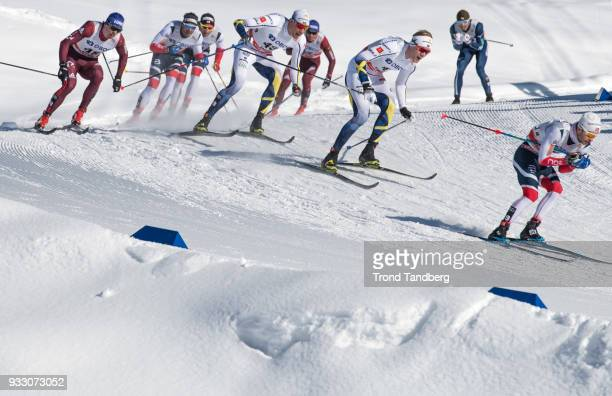 Sjur Roethe of Norway during 15 km Men Mass Start Classic at Lugnet Stadium on March 17, 2018 in Falun, Sweden.