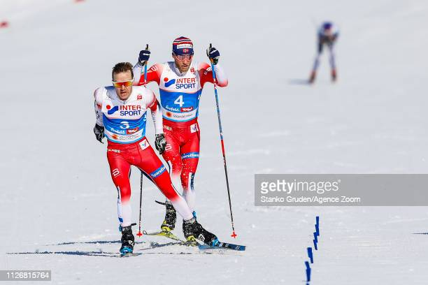 Sjur Roethe of Norway takes 1st place during the FIS Nordic World Ski Championships Men's and Women's Cross Country Skiathlon on February 23 2019 in...