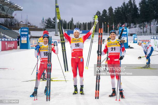 Sjur Roethe of Norway takes second place, Emil Iversen of Norway takes first place, Paal Golberg of Norway takes third place during the Men's...