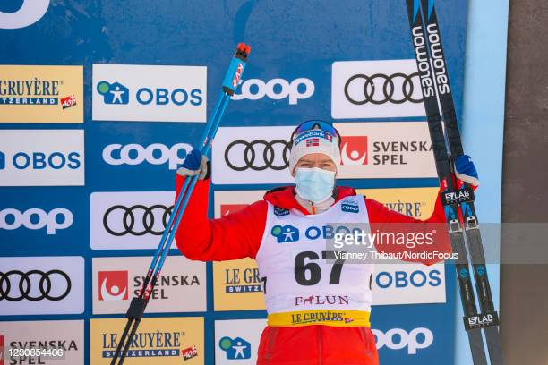 Sjur Roethe of Norway takes third place during the Men's 15km free at the Coop FIS Cross-Country World Cup Falun at on January 29, 2021 in Falun,...