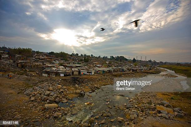 Sjwetla squatter camp on the outskirts of Alexandra Township June 4 2008 in Johannesburg South Africa An estimated 30% of this camp are foreign...
