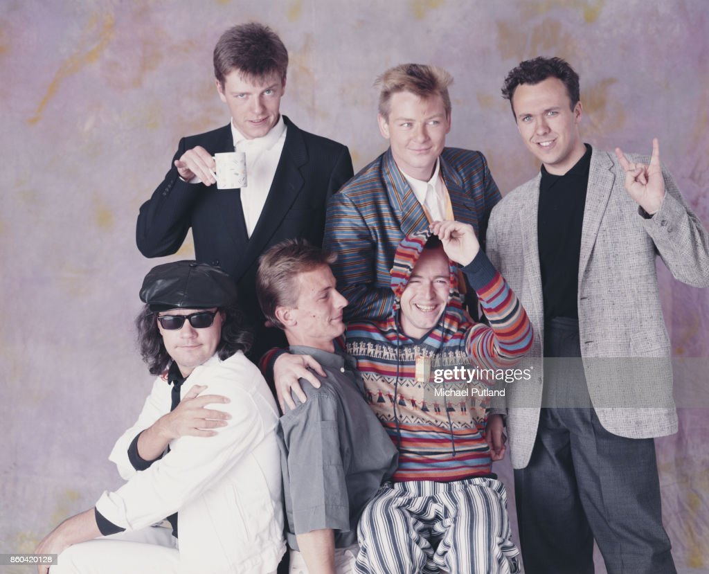 Ska group Madness, London, 1985, first row: guitarist Chris Foreman, drummer Daniel Woodgate, saxophonist Lee Thompson; second row: singer Suggs, trumpeter Chas Smash, bassist Mark Bedford.