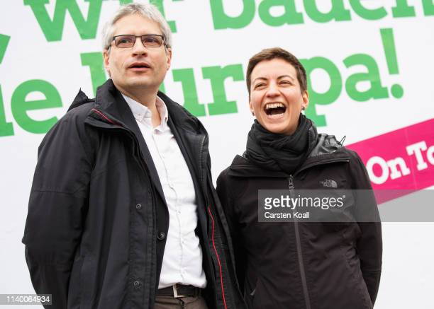 Ska Keller and Sven Giegold lead candidates for the German Greens Party in European parliamentary elections attend an election campaign event on...