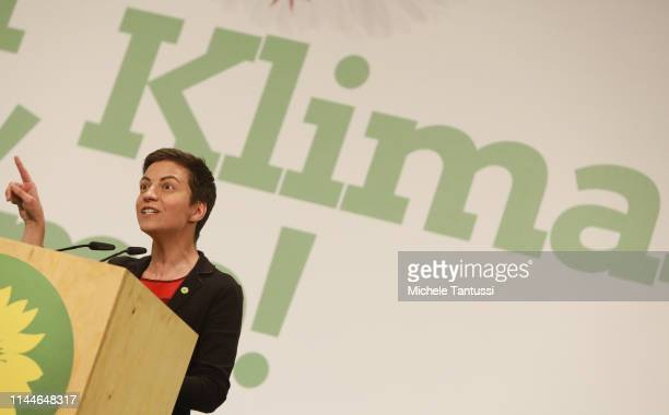 Ska Keller colead candidate for the German Greens Party speaks at a Greens party congress ahead of European elections on May 18 2019 in Berlin...