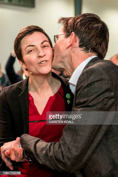 Ska Keller from Germany and Bas Eickhout from the Netherlands celebrate after being elected as top candidates of the European Greens party for the...