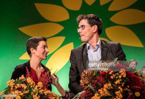 Ska Keller from Germany and Bas Eickhout from the Netherlands pose on stage after being elected as top candidate for the European Green party for the...