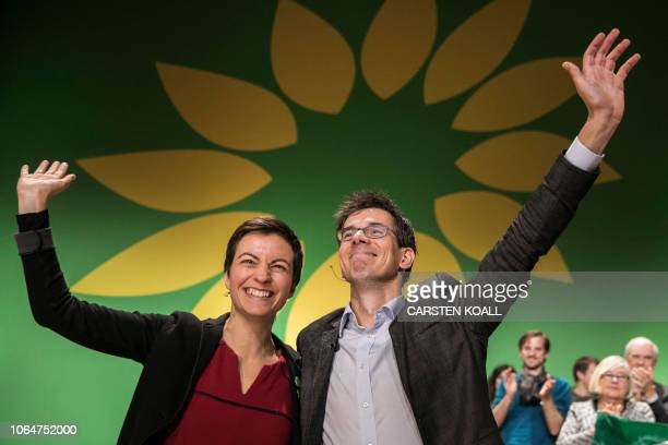 Ska Keller from Germany and Bas Eickhout from the Netherlands pose on stage after being elected as top candidates of the European Greens party for...