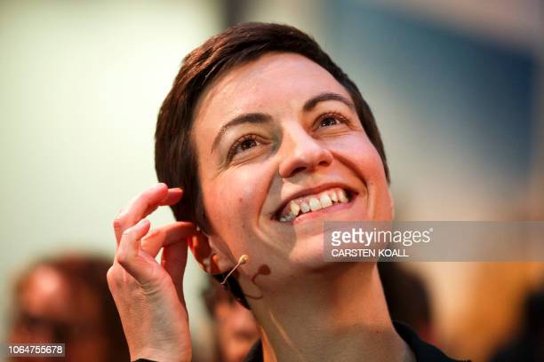 Ska Keller from Germany smiles after being elected as one of two top candidates of the European Greens party for the European election 2019 during...