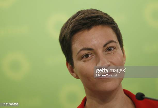Ska Keller the lead cocandidates for the German Greens Party in European elections speaks to the media during an event to mark the launch of the...