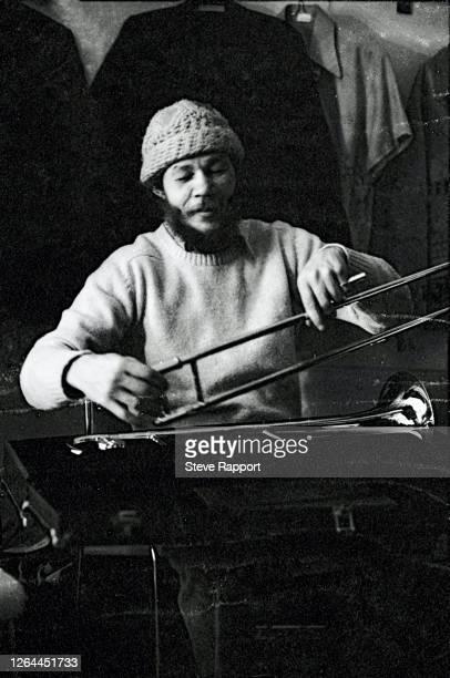 Ska musician Rico Rodriguez , of the group the Specials, Spa Centre, LARAFC, Leamington, 4/15/1981.
