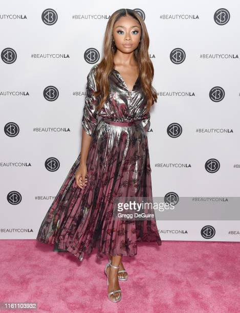 Skai Jackson attends Beautycon Los Angeles 2019 Day 2 Pink Carpet at Los Angeles Convention Center on August 10 2019 in Los Angeles California
