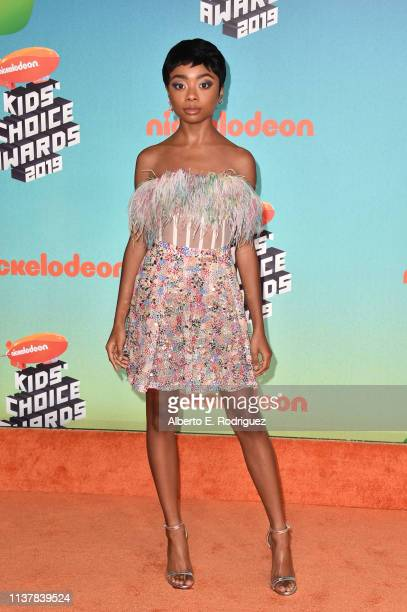 Skai Jackson attends Nickelodeon's 2019 Kids' Choice Awards at Galen Center on March 23 2019 in Los Angeles California