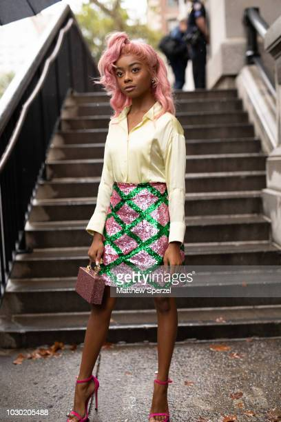 Skai Jackson is seen on the street during New York Fashion Week SS19 wearing ESCADA on September 9 2018 in New York City