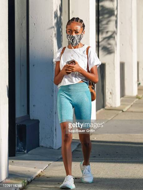 Skai Jackson is seen outside 'Dancing With The Stars' rehearsal studios on October 16 2020 in Los Angeles California