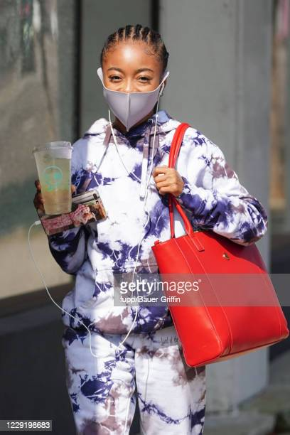 Skai Jackson is seen outside 'Dancing With The Stars' rehearsal studios on October 20 2020 in Los Angeles California