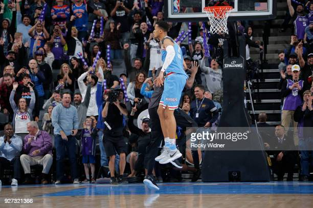 Skal Labissiere and Zach Randolph of the Sacramento Kings react during game against the New York Knicks on March 4 2018 at Golden 1 Center in...