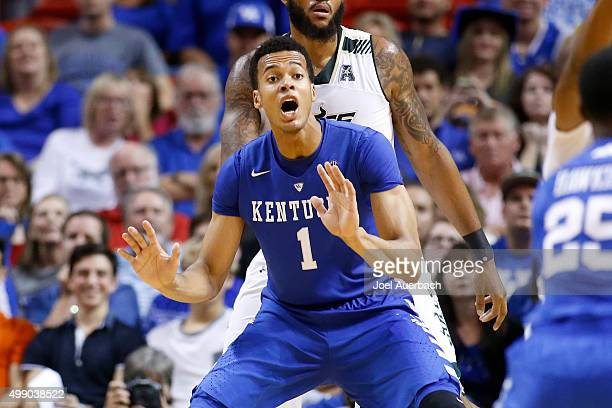 Skal Labissiere of the Kentucky Wildcats calls for the ball during second half action against the South Florida Bulls on November 27 2015 at the...