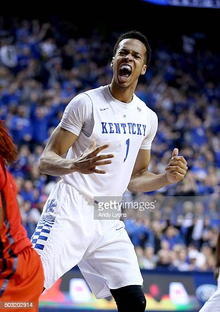 Skal Labissiere of the Kentucky Wildcats celebrates after dunking the ball against the Mississippi Rebels at Rupp Arena on January 2 2016 in...