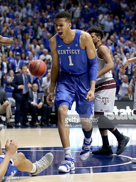 Skal Labissiere of the Kentucky Wildcats celebrates in the 8277 OT win over the Texas AM Aggies in the Championship Game of the SEC Basketball...