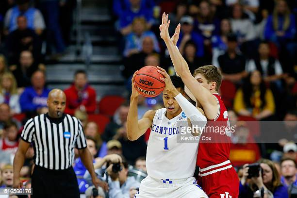 Skal Labissiere of the Kentucky Wildcats drives against Collin Hartman of the Indiana Hoosiers in the second half during the second round of the 2016...