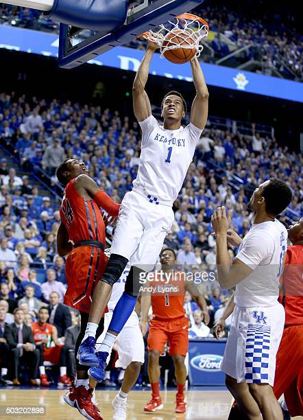 Skal Labissiere of the Kentucky Wildcats dunks the ball against the Mississippi Rebels at Rupp Arena on January 2 2016 in Lexington Kentucky